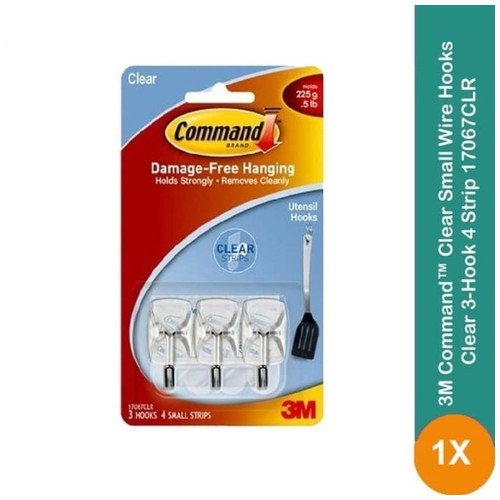 Gantungan Clear Small Wire Hook 3M Command 17067CLR