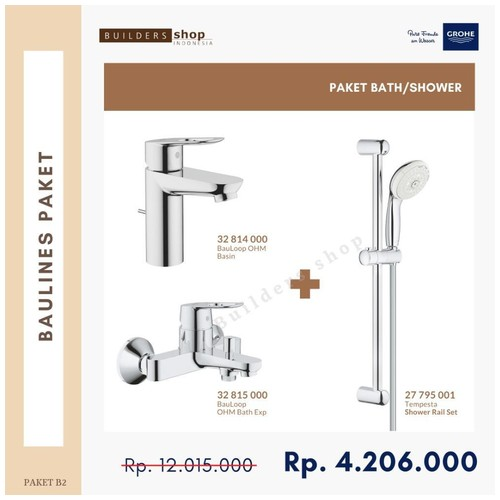Grohe - Baulines Paket 2 (Kran Basin+Shower Set+Kran Bath/Shower)