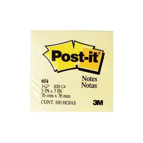 Post it Sticky Notes 3x3in Yellow (654)