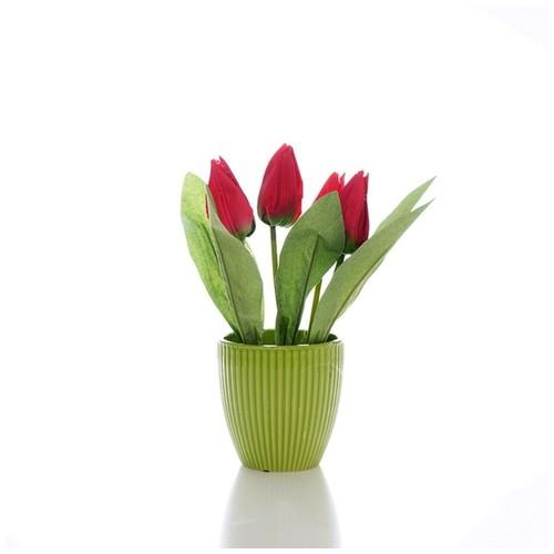 iCreate Set Bunga Hias Plastik dan pot plastik / vas pot bunga / liteta Red