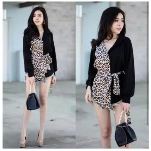 Atasan Korea Twotone Color Leopard Kemeja Kombinasi Wolfis Spring Top