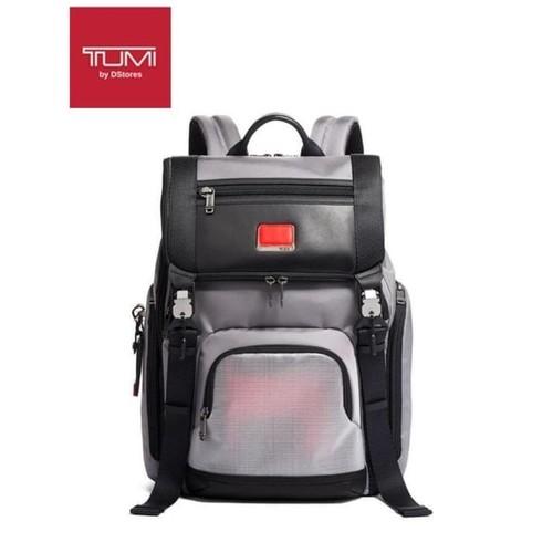 TUMI Alpha Bravo Lark Backpack - Grey Bright Red