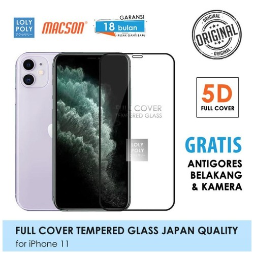 LOLYPOLY Full Cover Tempered Glass iPhone 11 JAPAN Quality 5D