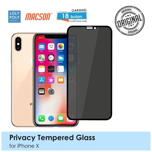LOLYPOLY Full Cover Tempered Glass Privacy iPhone X / XS Japan Quality