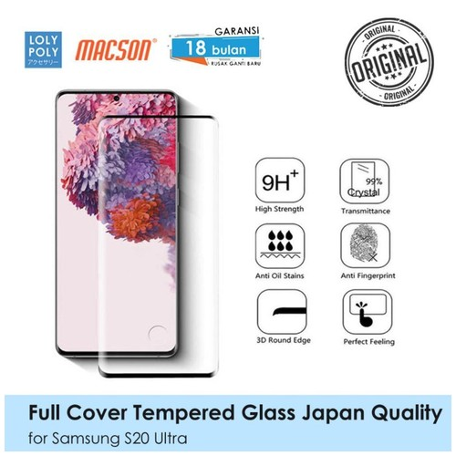 LOLYPOLY Full Cover Tempered Glass Samsung S20 Ultra Japan Quality