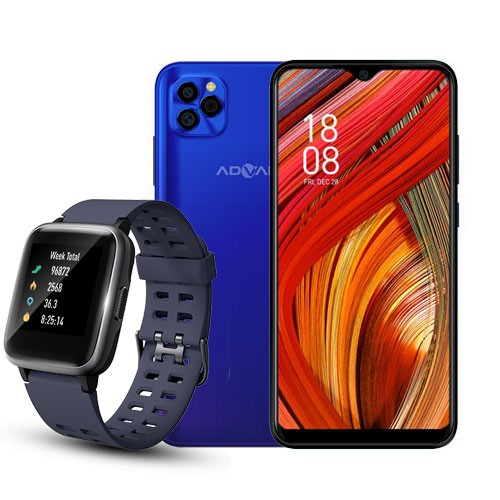 Advan Smartphone G5 (RAM 4GB/32GB) - Blue Purple BUNDLING  Smartwatch Start Go S1 - Navy Blue