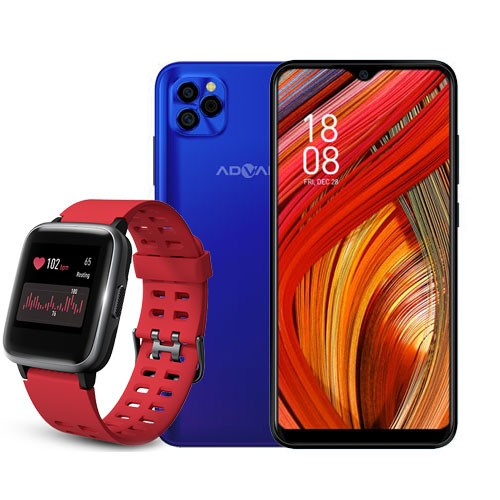 Advan Smartphone G5 (RAM 4GB/32GB) - Blue Purple BUNDLING Smartwatch Start Go S1 - Red