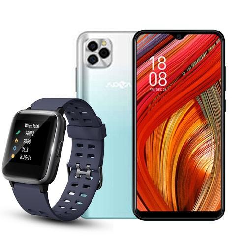 Advan Smartphone G5 (RAM 4GB/32GB) - White Green BUNDLING Smartwatch Start Go S1 - Navy Blue