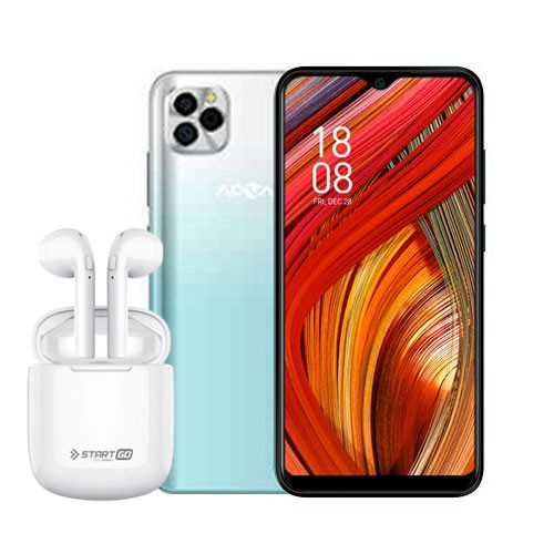 Advan Smartphone G5 (RAM 4GB/32GB) - White Green BUNDLING Start Go TWS 2 Earbuds Earphone - White