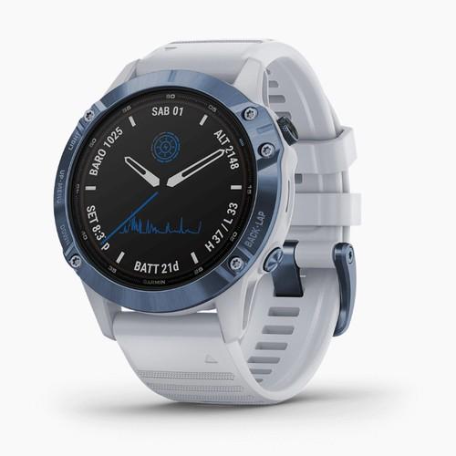 Garmin Fenix 6 Pro Solar - Mineral Blue with Whitestone Band