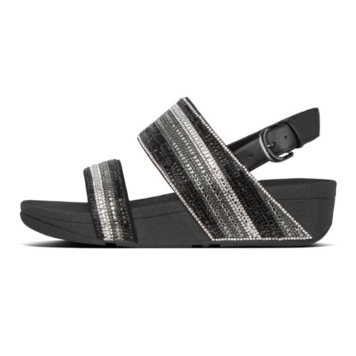 Fitflop Rosa Crystal Mosaic Back-Strap Women Sandal - All Black