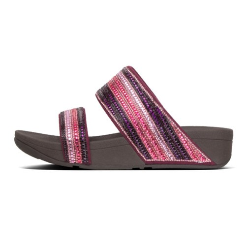 Fitflop Rosa Crystal Mosaic Slide Women Sandal - Dark Red