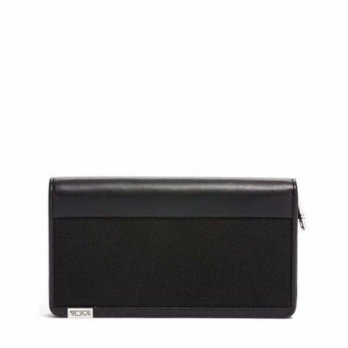 TUMI Alpha Zip Around Travel Wallet - Dompet Travel - Black Chrome