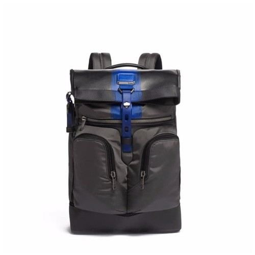 TUMI Alpha Bravo London Roll Top Backpack- Brushed Blue