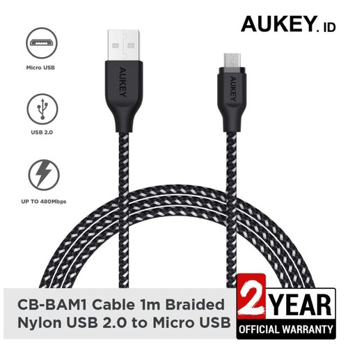 Aukey Cable CB-BAM1 1.2M Micro High Performance Braided Black - 500424