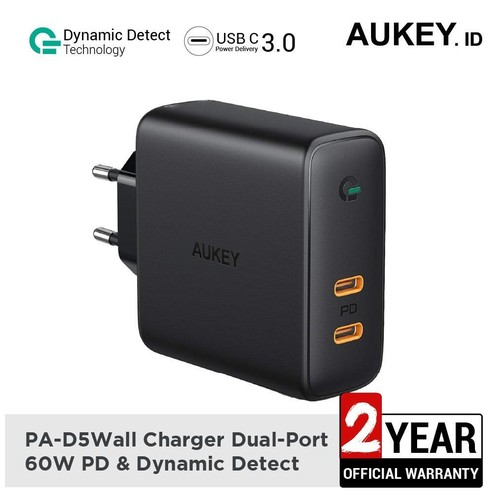 Aukey Charger PA-D5 Dual-Port 60W PD & Dynamic Detect - 500401
