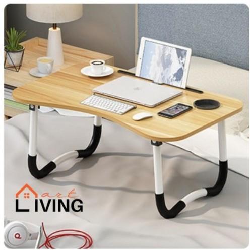 Living Mart - SKRIV Meja Lipat Serba Guna / Meja Laptop / Meja Belajar - Apple Wood / Coklat Muda
