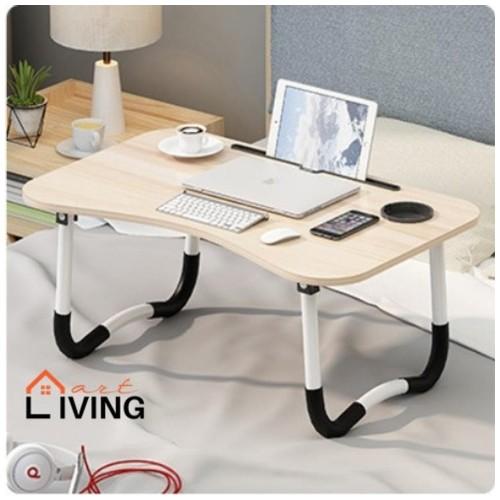 Living Mart - SKRIV Meja Lipat Serba Guna / Meja Laptop / Meja Belajar - Oak Grain / Putih