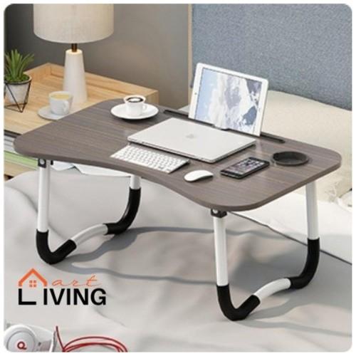 Living Mart - SKRIV Meja Lipat Serba Guna / Meja Laptop / Meja Belajar - Black Grain / Hitam