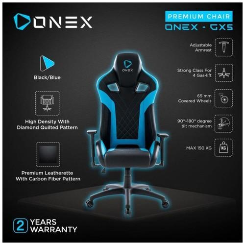 ONEX GX5 Premium Quality Gaming Chair Kursi - BLUE