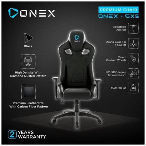 ONEX GX5 Premium Quality Gaming Chair Kursi - BLACK