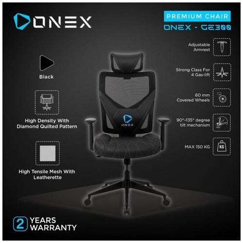 ONEX GE300 Premium Quality Mesh Gaming Chair - Black