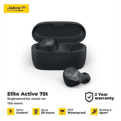 Jabra Elite Active 75t/75t Active True Wireless Earbuds - Grey