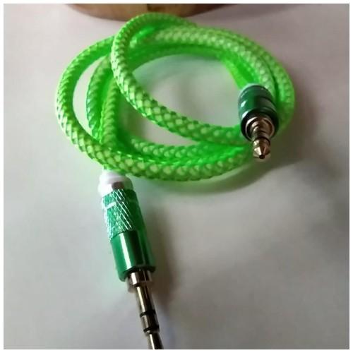Mediatech Kabel Aux Audio 3.5mm Male - Male Motif Jaring Laba Laba / Aux 3.5mm M/M Hijau