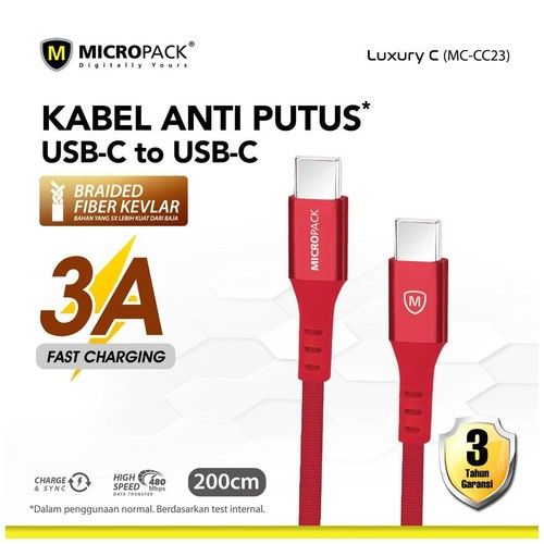 Micropack Cable USB C to USB C 2M Red (MC-CC23)