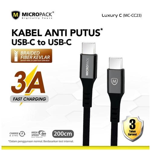 Micropack Cable USB C to USB C 2M Black (MC-CC23)