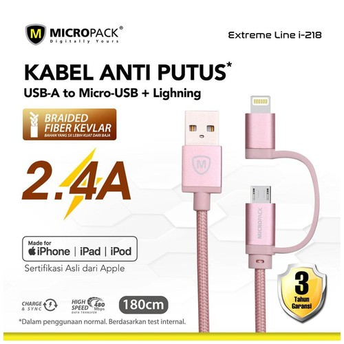 Micropack 2 in 1 Cable - USB A to Micro USB & Lightning 1.8M Rose Gold (I-218)