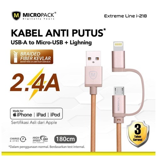 Micropack 2 in 1 Cable - USB A to Micro USB & Lightning 1.8M Gold (I-218)