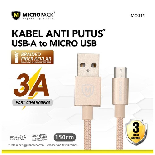 Micropack USB A to Micro USB Cable 1.5 M Fast Charging 3A Gold (MC-315)