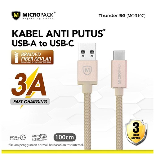 Micropack Fast Charging Braided Cable Type C 3A 1Meter Gold (MC-310C)