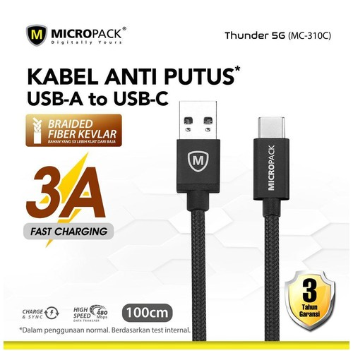 Micropack Fast Charging Braided Cable Type C 3A 1Meter Black (MC-310C)