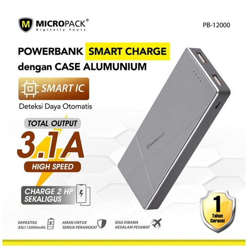 Micropack Power Bank 12000mAh Dual Output+Fast Charge & Aluminium Case Grey (P12000)