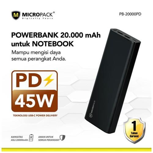 Micropack Power Bank for Laptop ; Output MAX 45 Watt, 20000mAh, Type C PD (PB-20000PD)