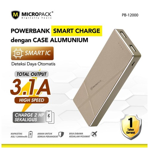 Micropack Power Bank 12000mAh Dual Output+Fast Charge & Aluminium Case Gold (P12000)