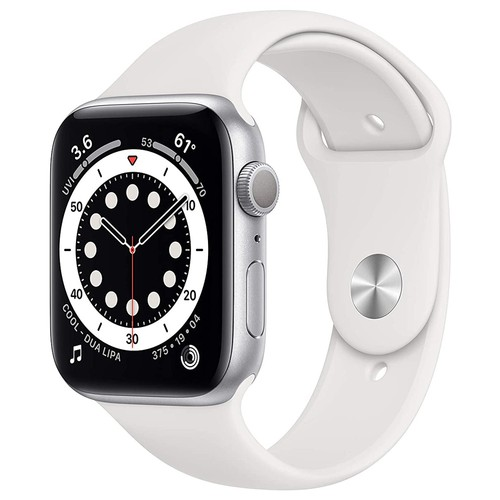 Apple Watch Series 6 GPS, 44mm Silver Aluminium Case with White Sport Band - Regular - M00D3ID/A