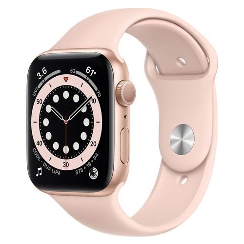 Apple Watch Series 6 GPS, 44mm Gold Aluminium Case with Pink Sand Sport Band - Regular - M00E3ID/A