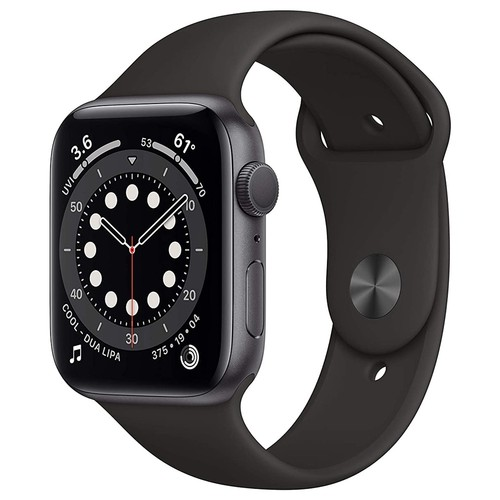 Apple Watch Series 6 GPS, 44mm Space Gray Aluminium Case with Black Sport Band - Regular - M00H3ID/A