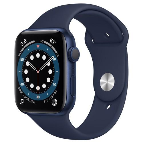 Apple Watch Series 6 GPS, 44mm Blue Aluminium Case with Deep Navy Sport Band - Regular - M00J3ID/A
