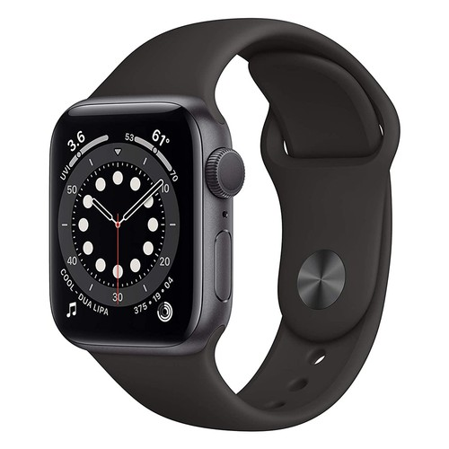 Apple Watch Series 6 GPS, 40mm Space Gray Aluminium Case with Black Sport Band - Regular - MG133ID/A