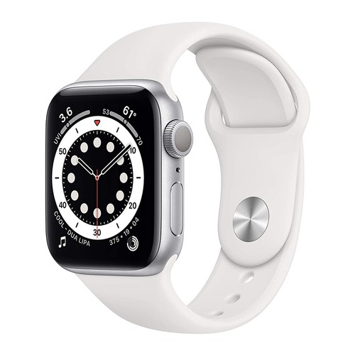 Apple Watch Series 6 GPS, 40mm Silver Aluminium Case with White Sport Band - Regular - MG283ID/A