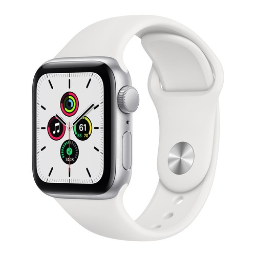 Apple Watch SE GPS, 40mm Silver Aluminium Case with White Sport Band - Regular - MYDM2ID/A