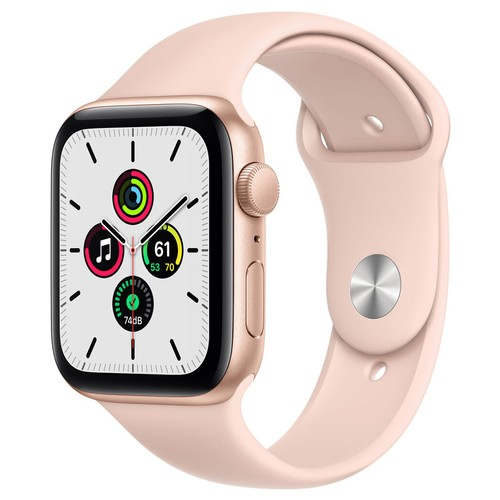 Apple Watch SE GPS, 44mm Gold Aluminium Case with Pink Sand Sport Band - Regular - MYDR2ID/A