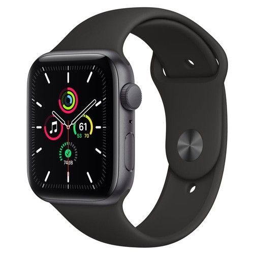 Apple Watch SE GPS, 44mm Space Gray Aluminium Case with Black Sport Band - Regular - MYDT2ID/A