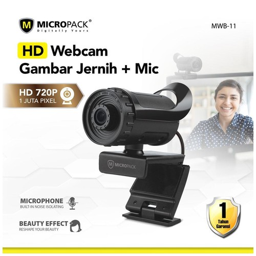 Micropack MWB-11 - HD 720P WebCam Built in Mic with Beauty Effect for PC and Laptop -Garansi 1 Tahun