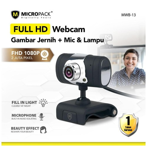 Micropack MWB-13 Full HD 1080P WebCam Built in Mic with Beauty Effect for PC and Laptop + Night Mode
