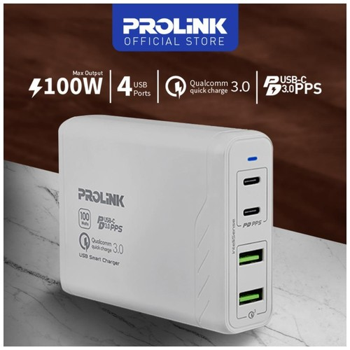 Charger Dekstop PROLINK PDC410001 100W 4-Port Power Delivery with PPS